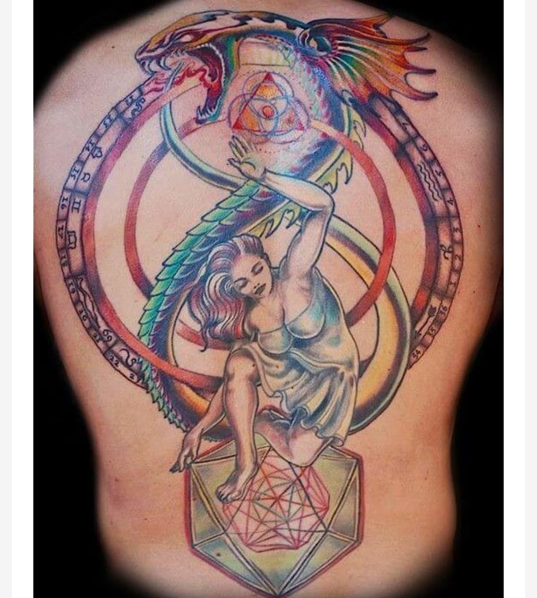 Colourful Ouroboro Tattoo Design