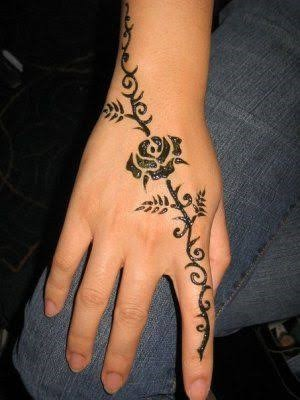 Finger to wrist wrapping henna design