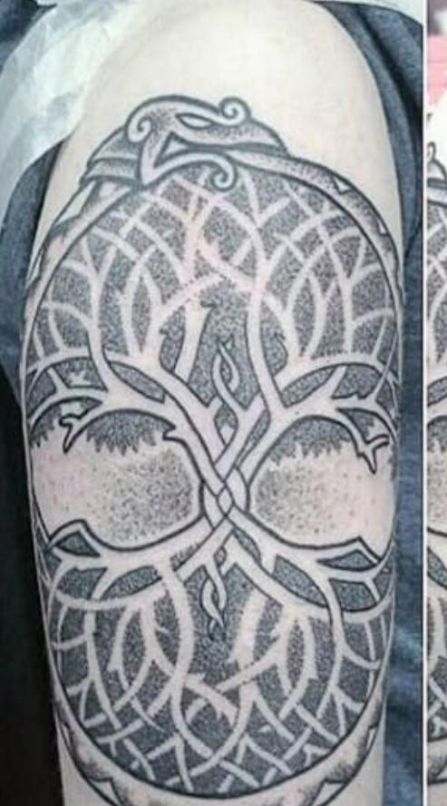 Geometric Pattern Ouroboro Tattoo