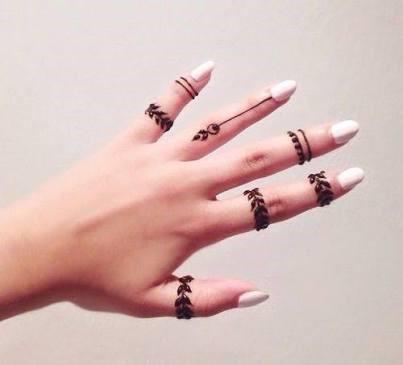 Gorgeous finger ring Henna designs