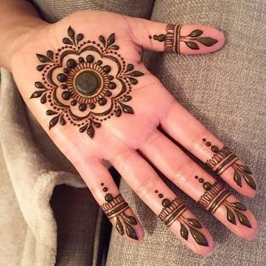 Simple Floral Pattern for the palm henna design
