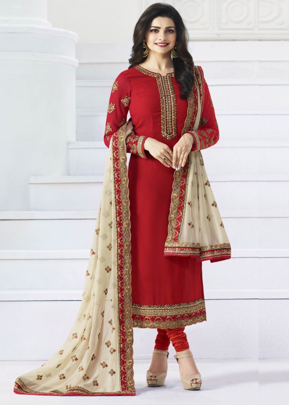 Straight Cut Designer Churidar Dress